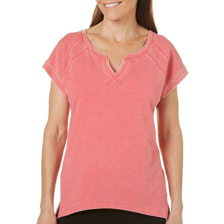 Brisas Womens Noctch Neck Mineral Wash Top