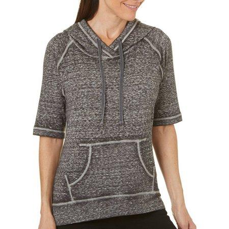 Brisas Womens Split Back Slub Knit Short Sleeve