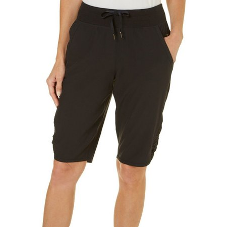 Brisas Womens Woven Ruched Bermuda Shorts