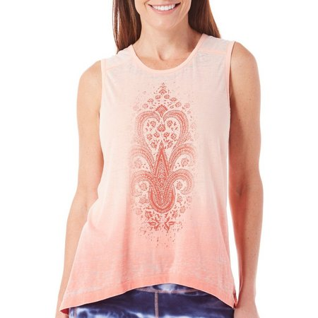 Brisas Womens Graphic Print Dip Dye Tank Top