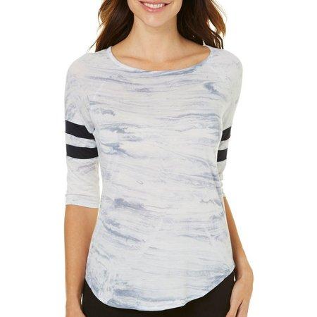 Brisas Womens Marble Print Stripe Sleeve Top