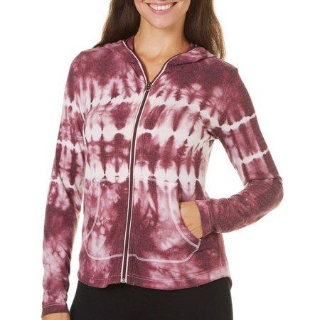 Brisas Womens Tie Dye Hooded Zip Front Jacket