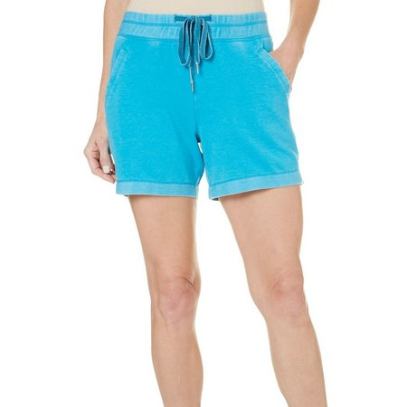 Brisas Womens Ribbed Elastic Waist Terry Shorts