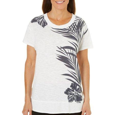 Brisas Women Palm Print Slub Knit T-Shirt