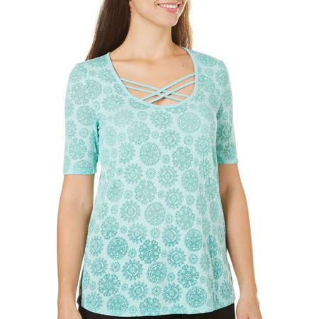 Brisas Womens Medallion Print Tunic Top