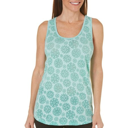Brisas Womens Medallion Burnout Jersey Tank Top