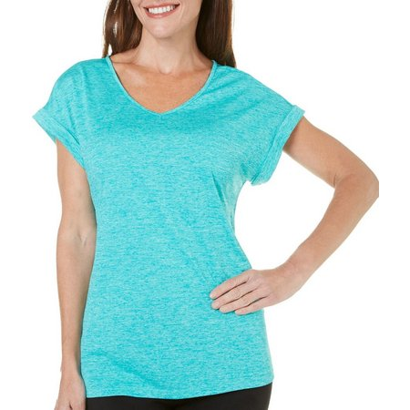 Brisas Womens Space Dyed Cuff Sleeve T-Shirt