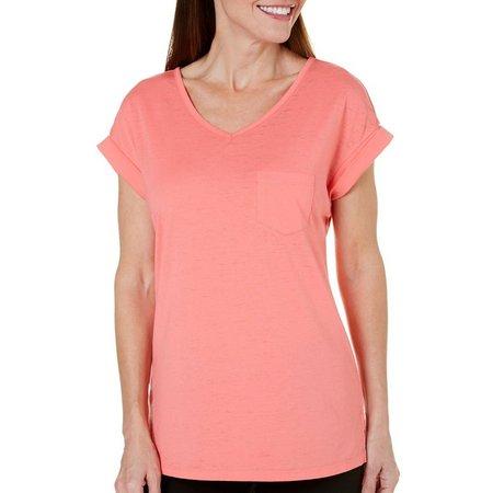 Brisas Womens Roll Sleeve V-Neck Acid Wash T-Shirt