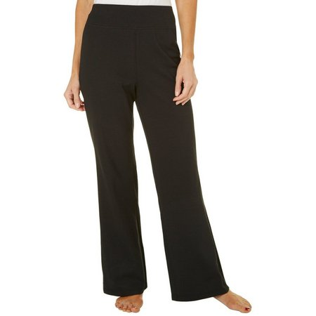 Brisas Womens Solid Pull On Flared Pants