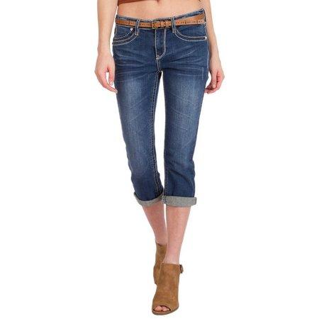 Unionbay Juniors Winnie Belted Crop Jeans
