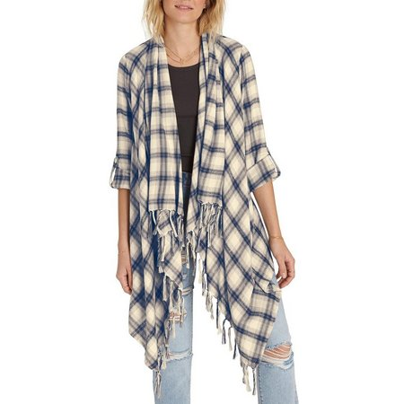 Billabong Juniors Live it Up Plaid Cardigan