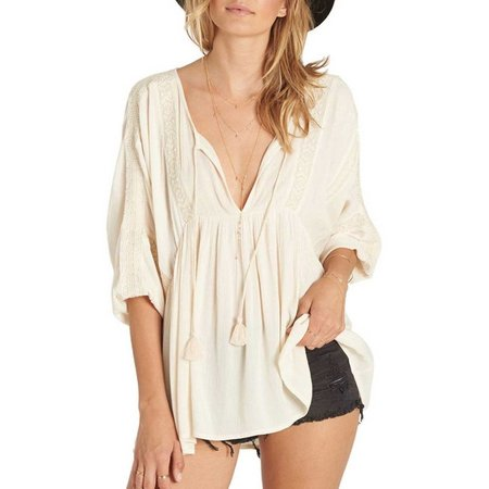 Billabong Juniors Split Neck Tasseled Top