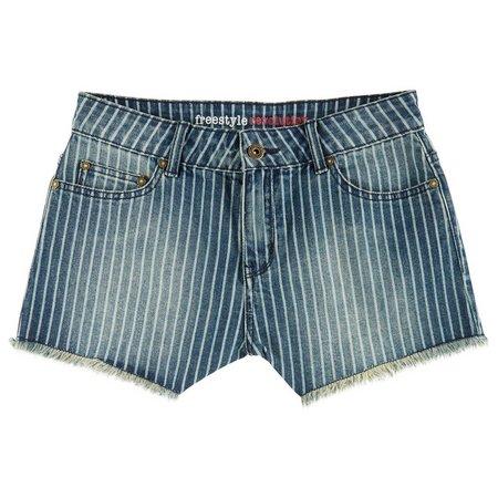 Essentials New York Juniors Stripe Denim Shorts