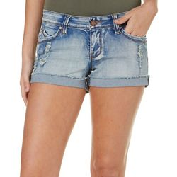 YMI Juniors Destructed Flap Pocket Denim Shorts