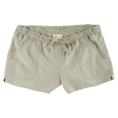 Jolt Juniors Solid Linen Shorts