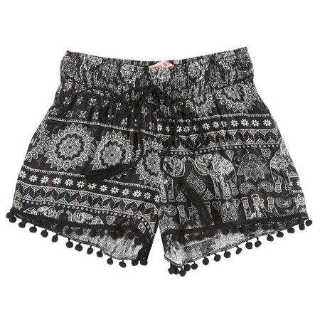 Hot Kiss Juniors Elephant Print Drawstring Shorts