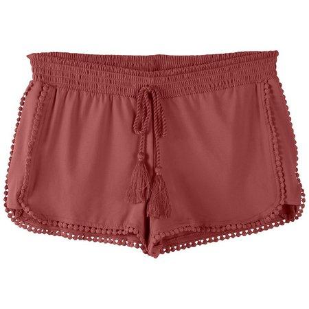 Hot Kiss Juniors Peached Pom Trim Shorts