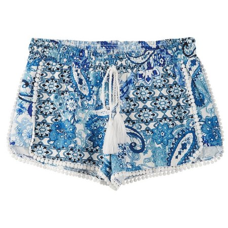 Hot Kiss Juniors Medallion Pom Trim Shorts
