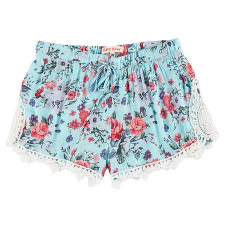 Hot Kiss Juniors Floral Print Crochet Trim Shorts