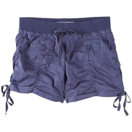 Hot Kiss Juniors Ruched Twill Pull-On Shorts