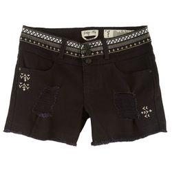 Indigo Rein Juniors Aztec Embroidered Denim Shorts