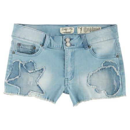 Indigo Rein Juniors Star Patch Denim Shorts