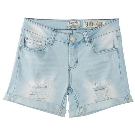 Indigo Rein Juniors Light Wash Destructed Shorts