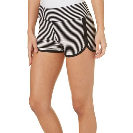 Derek Heart Juniors Stripe Rounded Hem Shorts