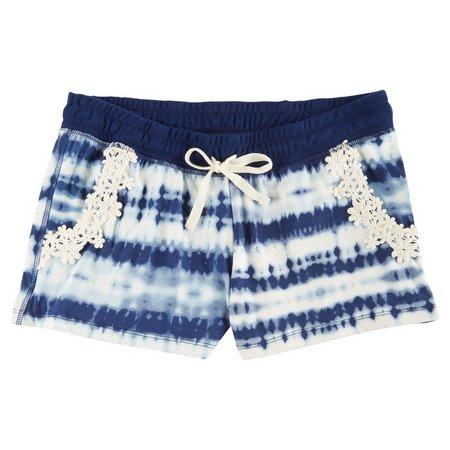 Derek Heart Juniors Tie Dye Crochet Trim Shorts