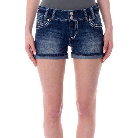 Wallflower Juniors Americana Pocket Denim Shorts