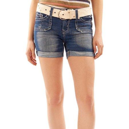 Wallflower Juniors Belted Dark Wash Denim Shorts