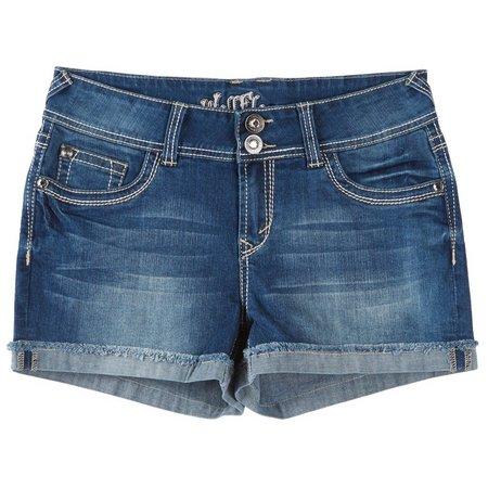 Wallflower Juniors Curvy Embroidered Denim Shorts