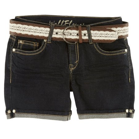 Wallflower Juniors Crochet Belted Mid Denim Shorts