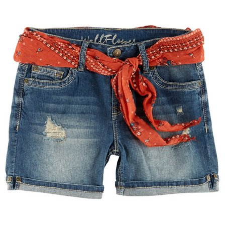 Wallflower Juniors Belted Sash Denim Shorts