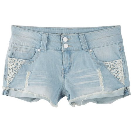 New! Almost Famous Juniors Crochet Inset Denim Shorts