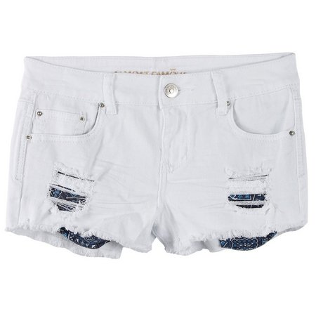 New! Almost Famous Juniors Bandana Pocket Denim Shorts