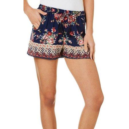 Angie Juniors Floral Print Aztec Border Soft Shorts