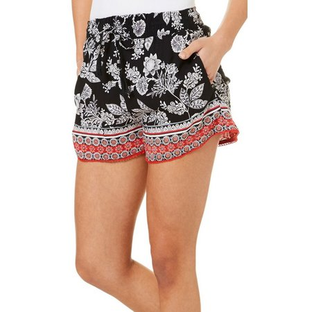 Angie Juniors Floral Print Crochet Trim Soft Shorts