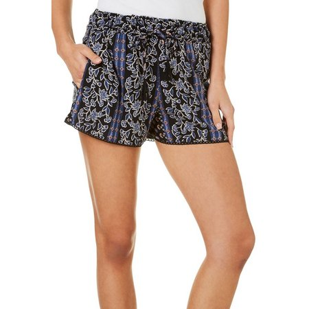 Angie Juniors Floral Print Stripe Detail Soft Shorts
