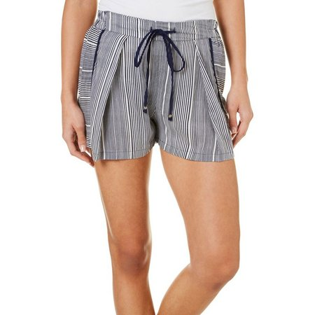Angie Juniors Stripe Pleated Front Soft Shorts