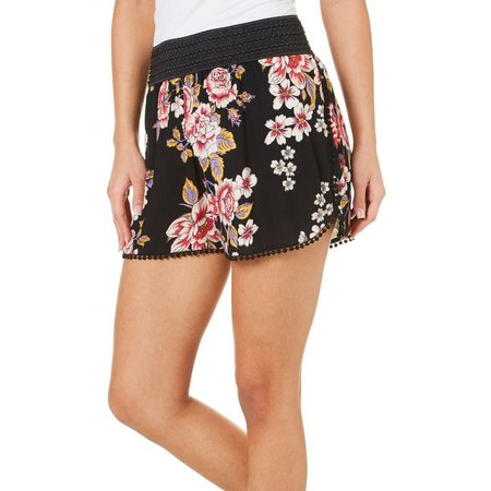 Angie Juniors Banded Waist Floral Print Soft Shorts