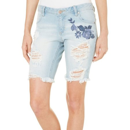Blue Spice Juniors Floral Embroidered Denim Shorts