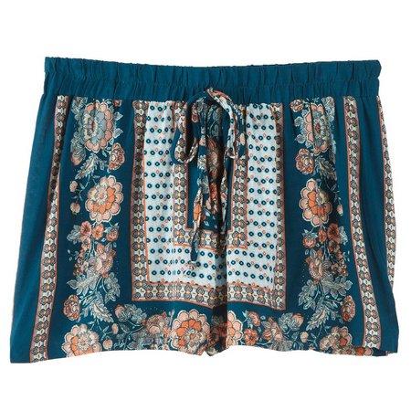 Be Bop Juniors Floral Border Print Shorts