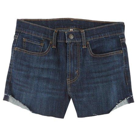 Levi's Juniors High Waist Dark Wash Denim Shorts