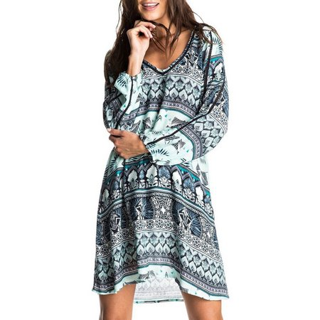 New! Roxy Juniors Havana Long Sleeve Printed Dress