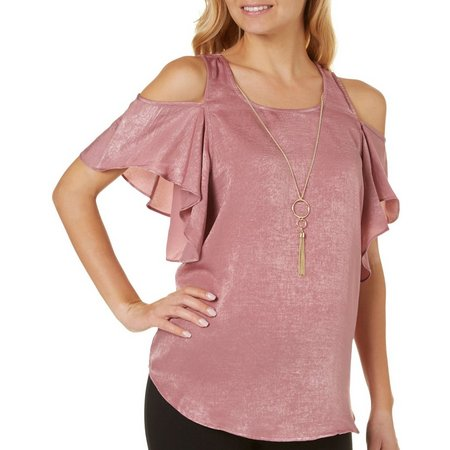A. Byer Juniors Necklace & Solid Cold Shoulder