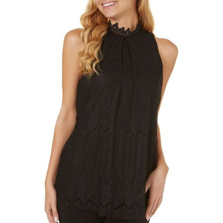 A. Byer Juniors Lace Overlay Halter Tank Top