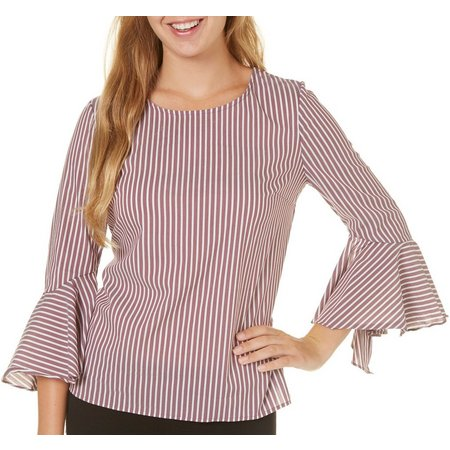 A. Byer Juniors Stripe Poplin Tie Back Flare