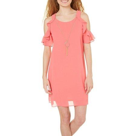 A. Byer Juniors Solid Cold Shoulder Dress
