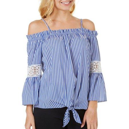 A. Byer Juniors Pin Stripe Crochet Tie Front